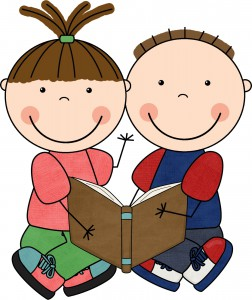 A kid-like drawing of two children reading a book.