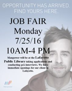 Job Fair- Manpower @ LaFayette-Walker County Library | LaFayette | Georgia | United States