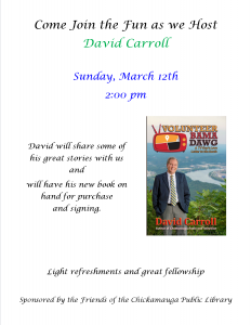 David Carroll Book Talk and Signing @ Chickamauga Public Library
