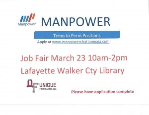 Manpower Job Fair @ LaFayette-Walker County Library | LaFayette | Georgia | United States